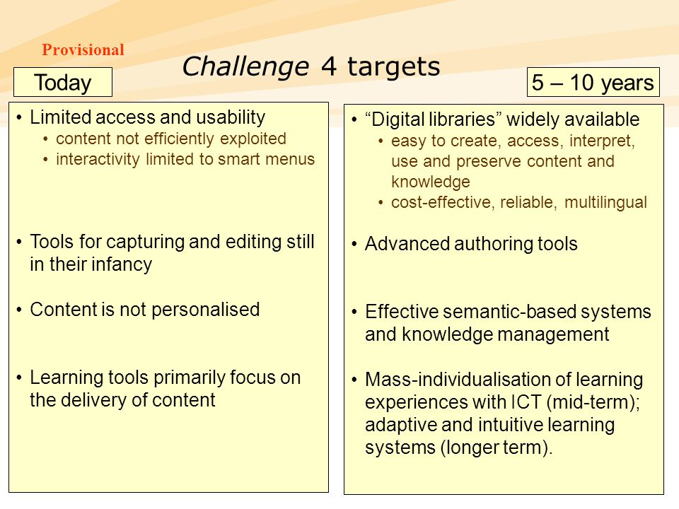 Challenge 4 targets Today 5 – 10 years Limited access and usability