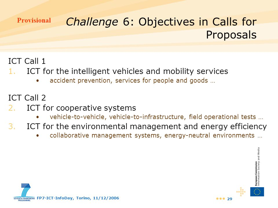 Challenge 6: Objectives in Calls for Proposals