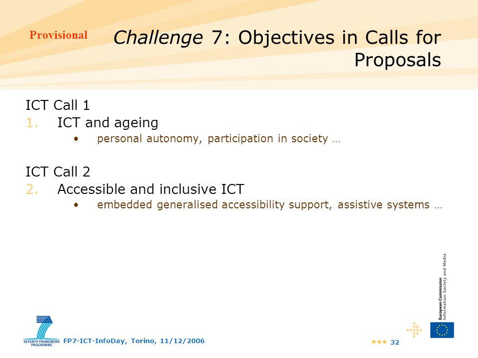 Challenge 7: Objectives in Calls for Proposals