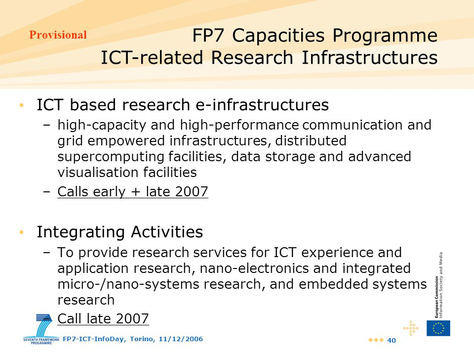 FP7 Capacities Programme ICT-related Research Infrastructures