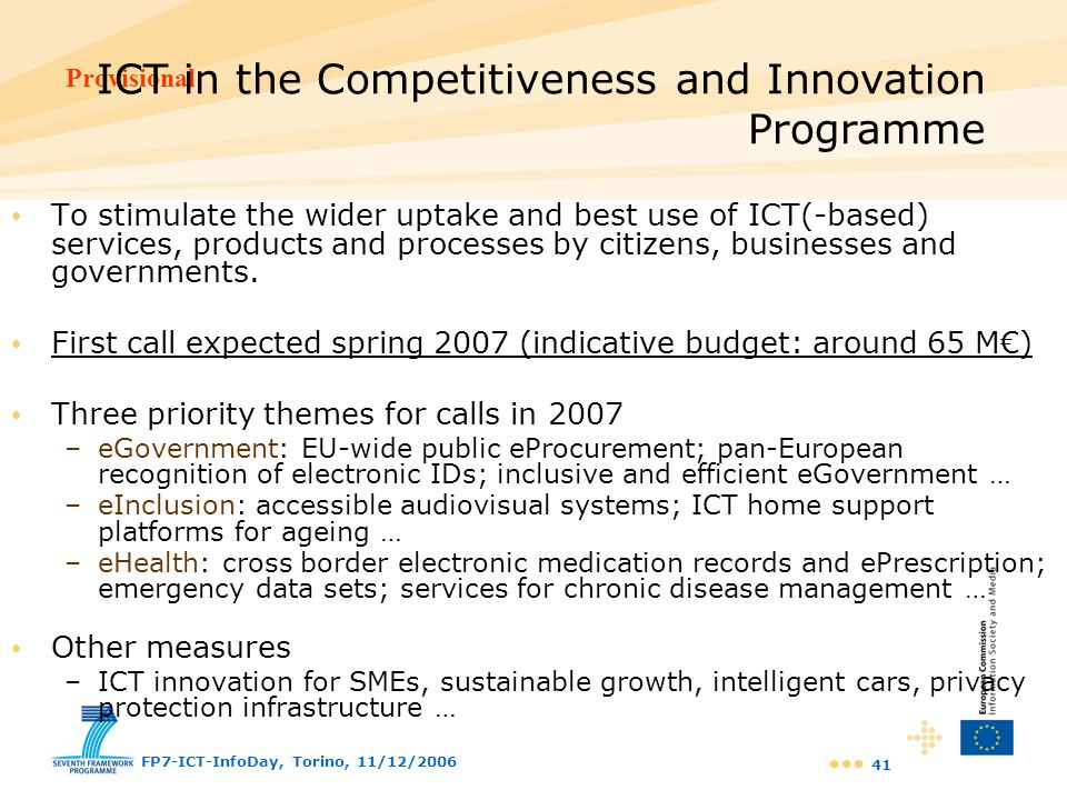ICT in the Competitiveness and Innovation Programme
