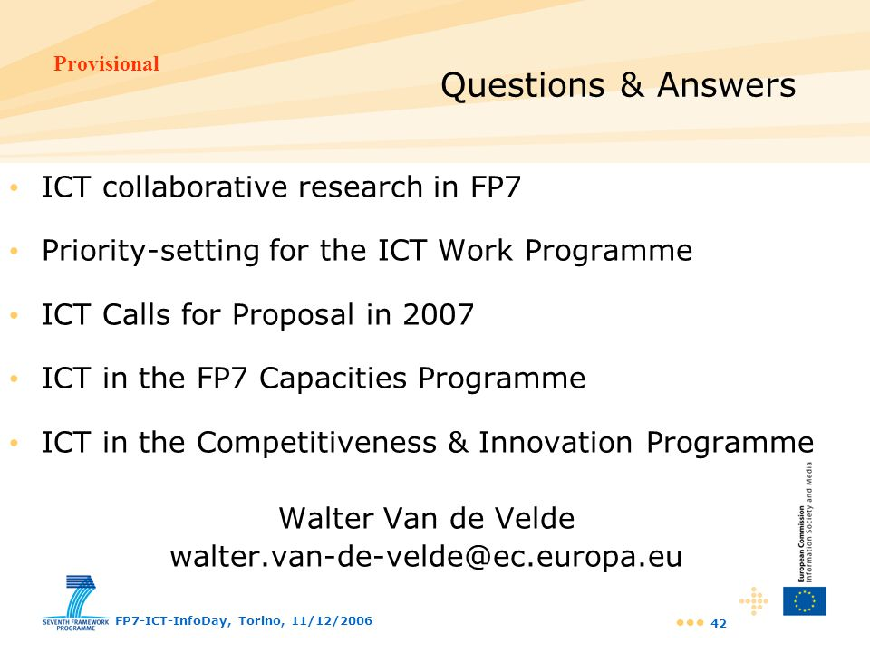 Questions & Answers ICT collaborative research in FP7