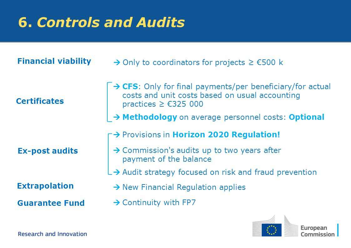 6. Controls and Audits Financial viability
