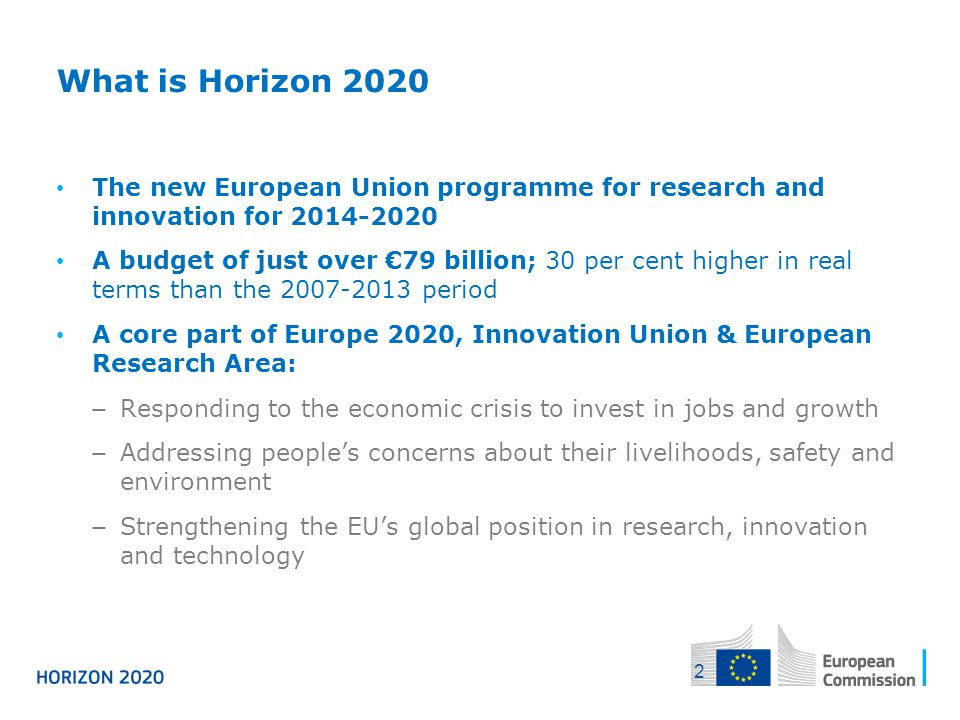 04/12/2013 What is Horizon 2020. The new European Union programme for research and innovation for 2014-2020.