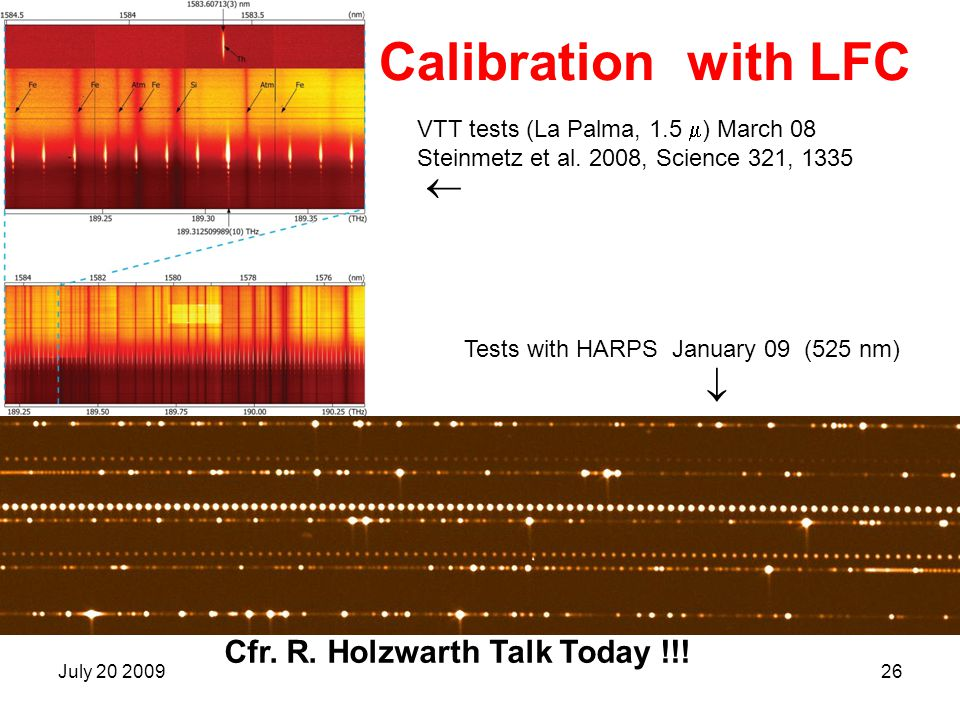 Calibration with LFC   Cfr. R. Holzwarth Talk Today !!!