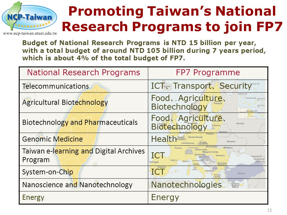 Promoting Taiwan's National Research Programs to join FP7