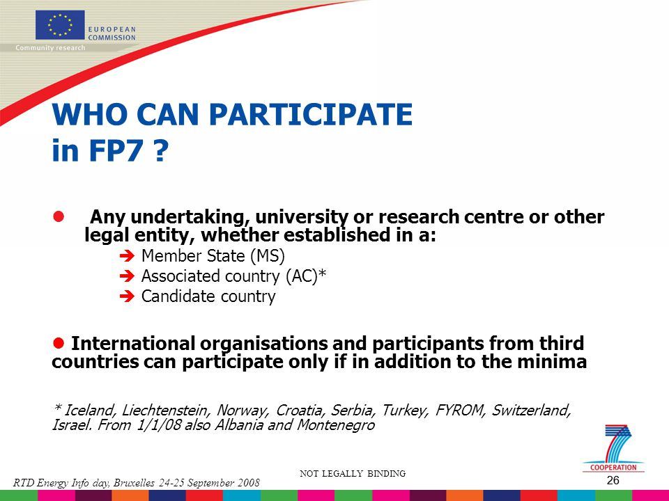 WHO CAN PARTICIPATE in FP7