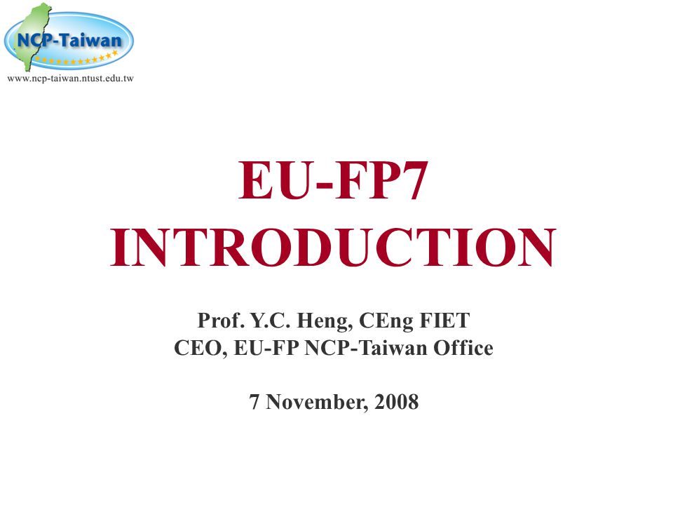 CEO, EU-FP NCP-Taiwan Office
