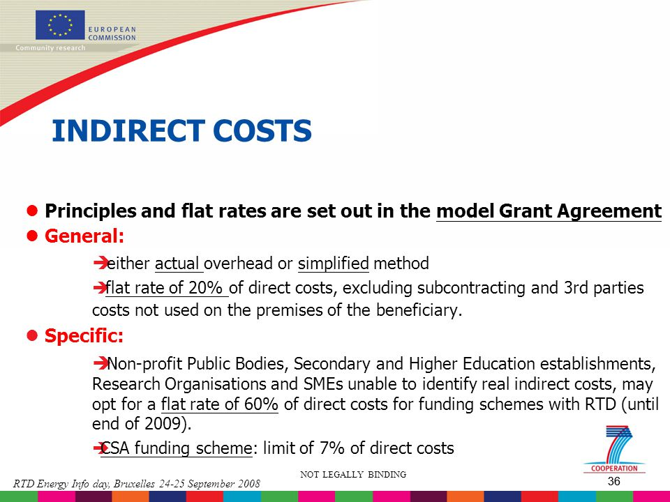 INDIRECT COSTS Principles and flat rates are set out in the model Grant Agreement. General: either actual overhead or simplified method.