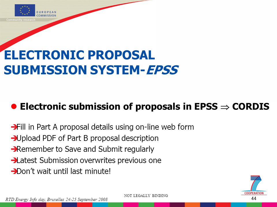 ELECTRONIC PROPOSAL SUBMISSION SYSTEM-EPSS