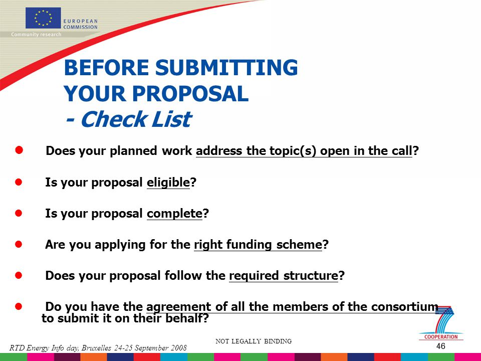 BEFORE SUBMITTING YOUR PROPOSAL - Check List