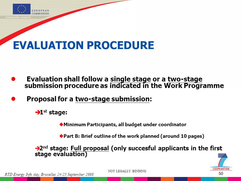 EVALUATION PROCEDURE Evaluation shall follow a single stage or a two-stage submission procedure as indicated in the Work Programme.