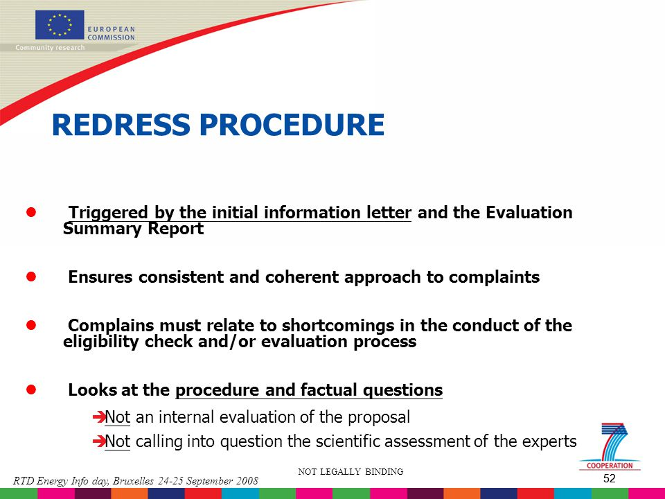 REDRESS PROCEDURE Triggered by the initial information letter and the Evaluation Summary Report.