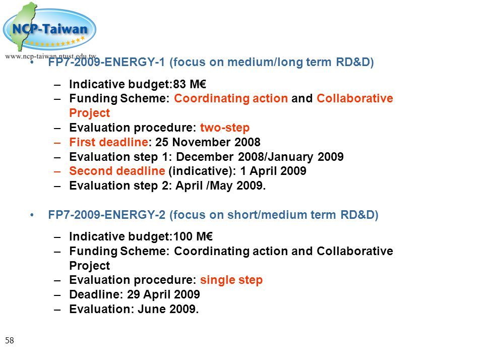 FP7-2009-ENERGY-1 (focus on medium/long term RD&D)