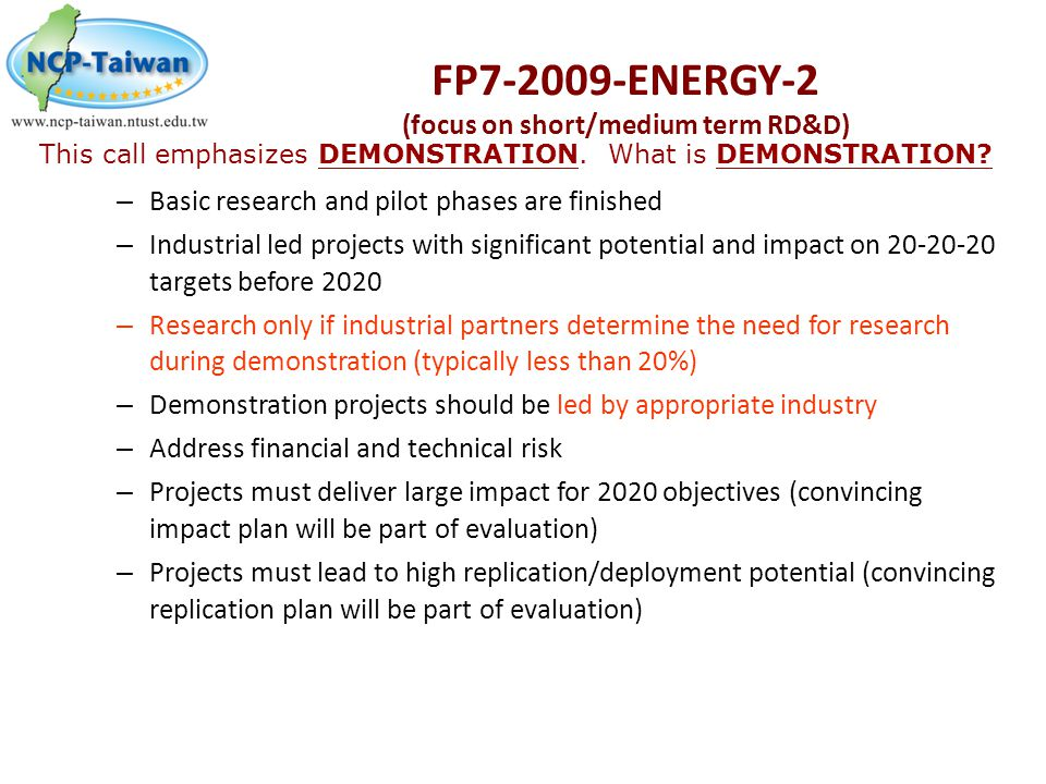 FP7-2009-ENERGY-2 (focus on short/medium term RD&D)