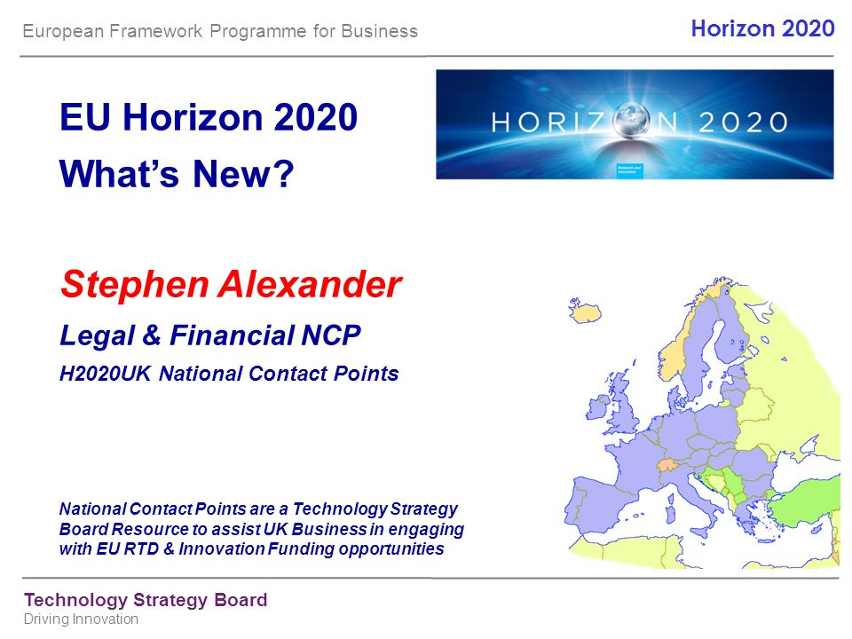 EU Horizon 2020 What's New Stephen Alexander Legal & Financial NCP