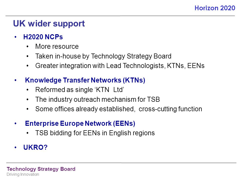 UK wider support H2020 NCPs More resource