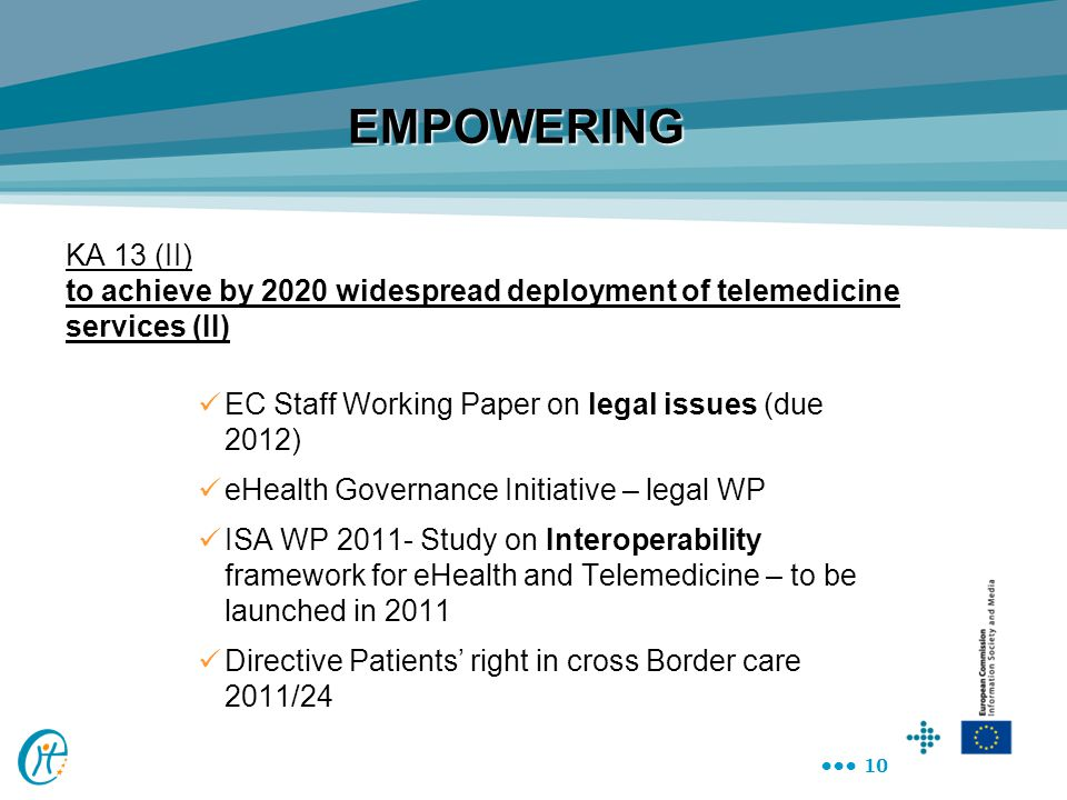 EMPOWERING KA 13 (II) to achieve by 2020 widespread deployment of telemedicine services (II) EC Staff Working Paper on legal issues (due 2012)