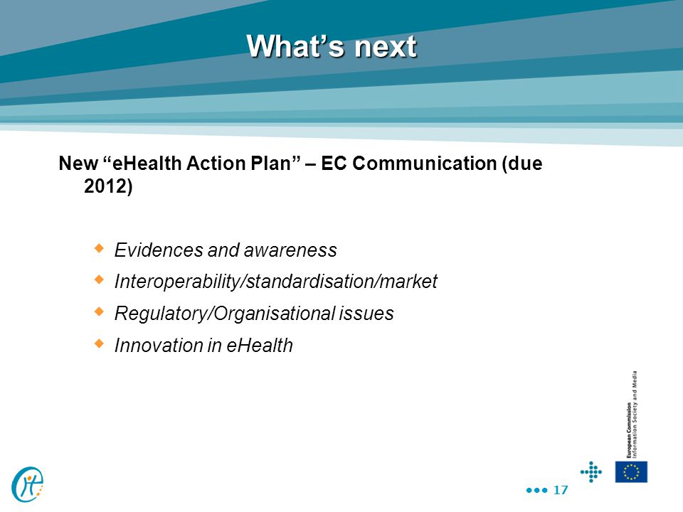 What's next New eHealth Action Plan – EC Communication (due 2012)