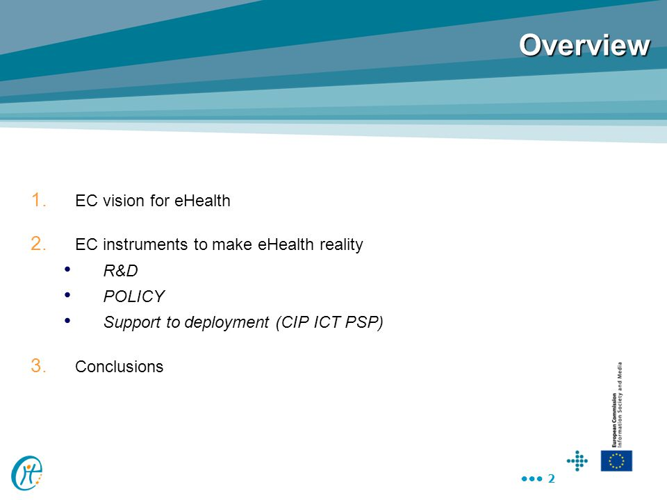 Overview EC vision for eHealth EC instruments to make eHealth reality