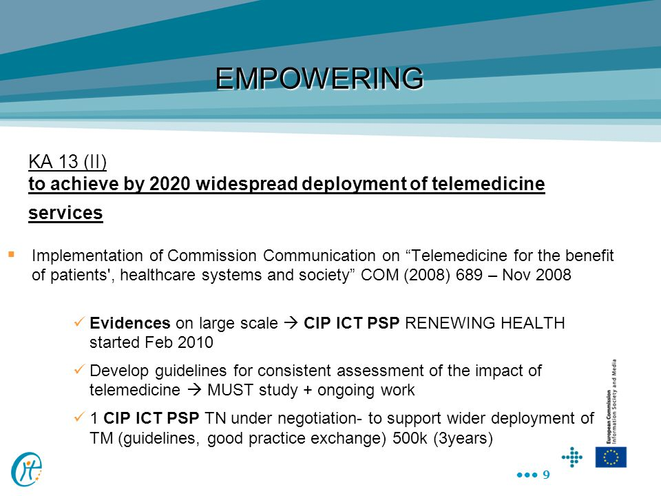 EMPOWERING KA 13 (II) to achieve by 2020 widespread deployment of telemedicine services.