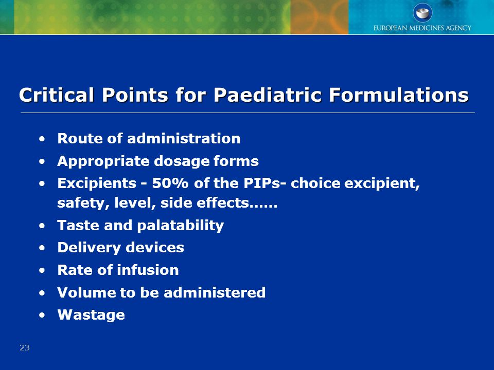 Critical Points for Paediatric Formulations