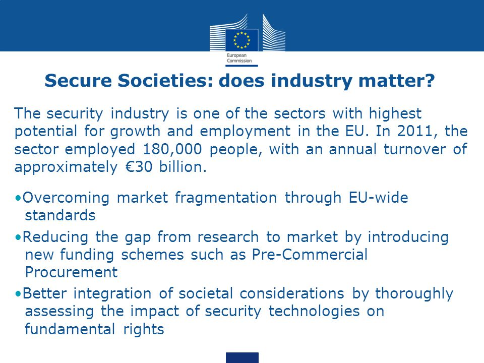 Secure Societies: does industry matter