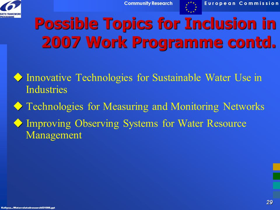 Possible Topics for Inclusion in 2007 Work Programme contd.