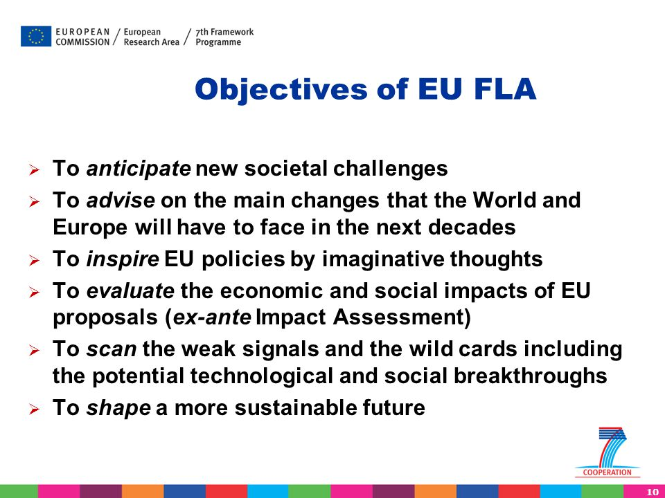 Objectives of EU FLA To anticipate new societal challenges