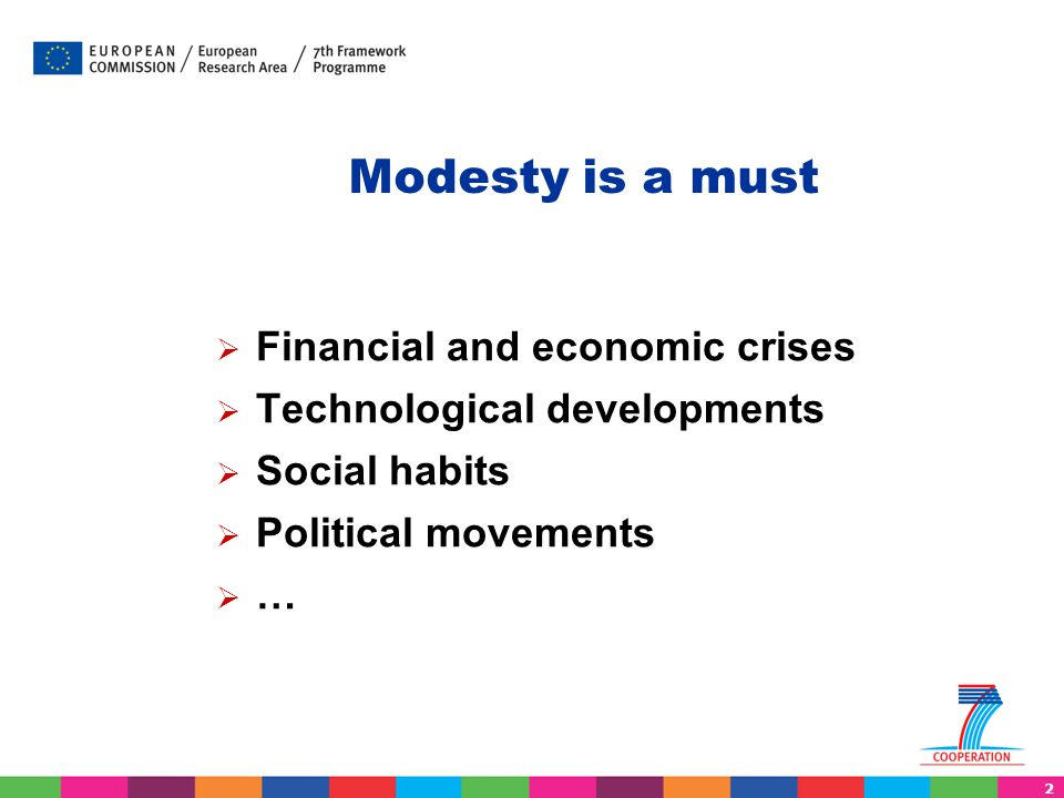 Modesty is a must Financial and economic crises