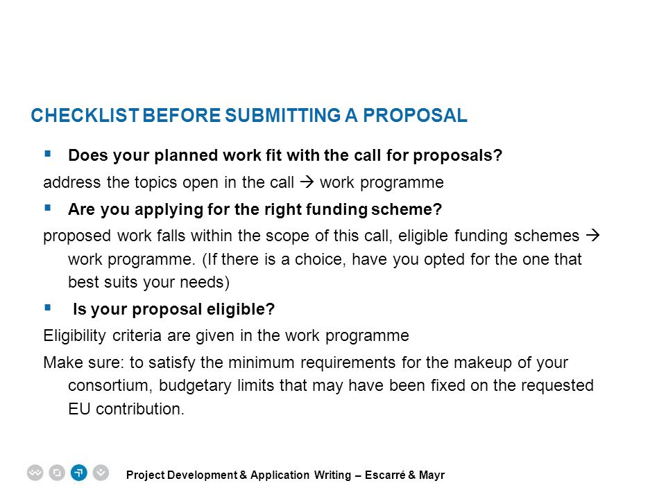 Checklist before submitting a proposal