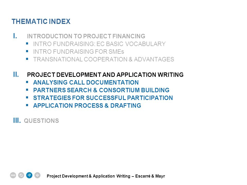 THEMATIC INDEX INTRODUCTION TO PROJECT FINANCING