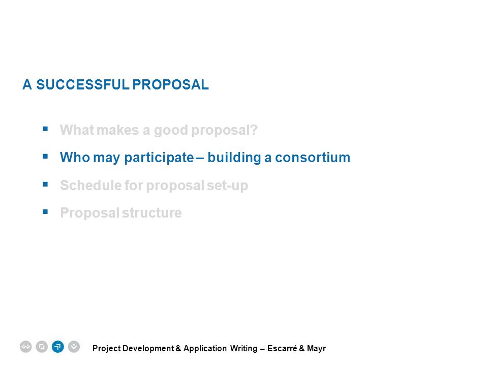 A SUCCESSFUL PROPOSAL What makes a good proposal Who may participate – building a consortium. Schedule for proposal set-up.