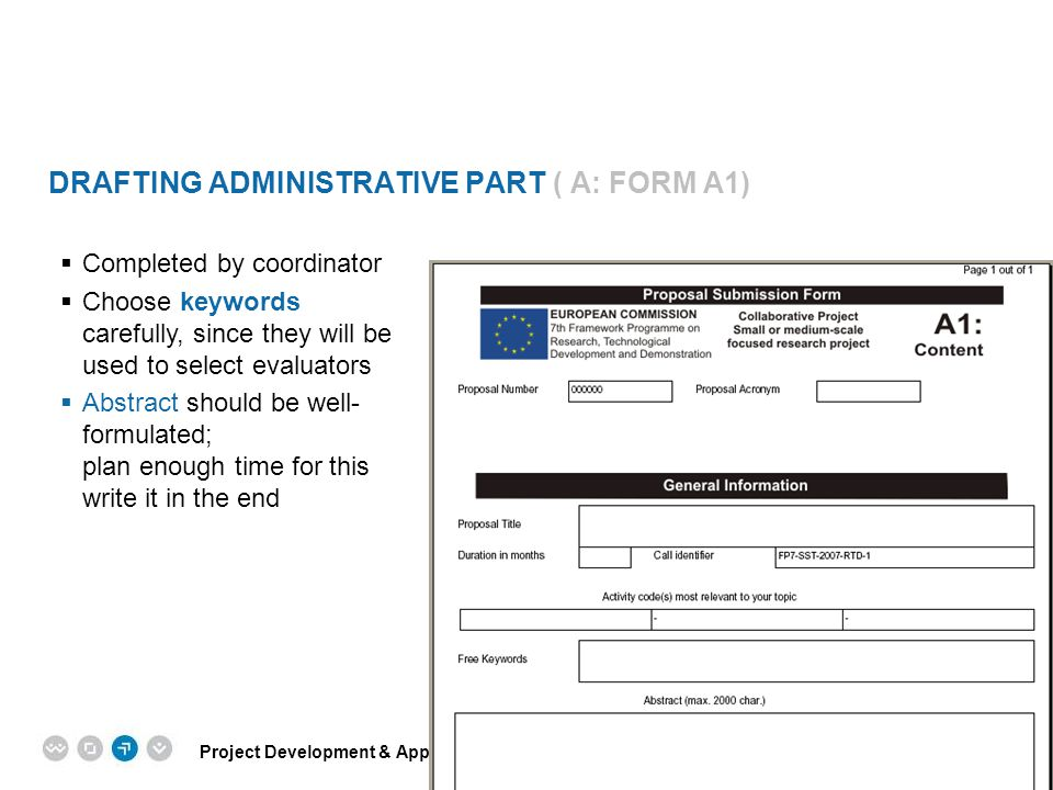 Drafting Administrative Part ( A: Form A1)