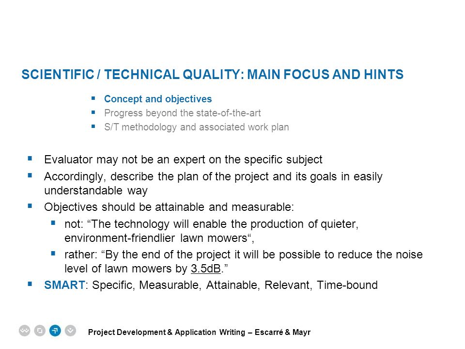 Scientific / technical quality: main focus and hints