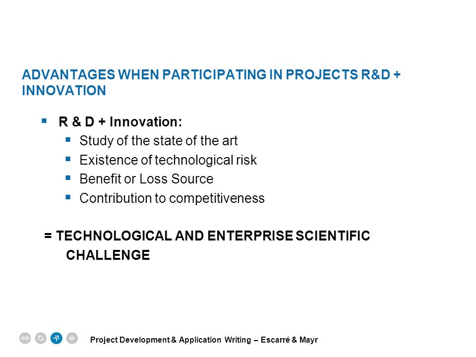 ADVANTAGES WHEN PARTICIPATING IN PROJECTS r&d + INNOVATION