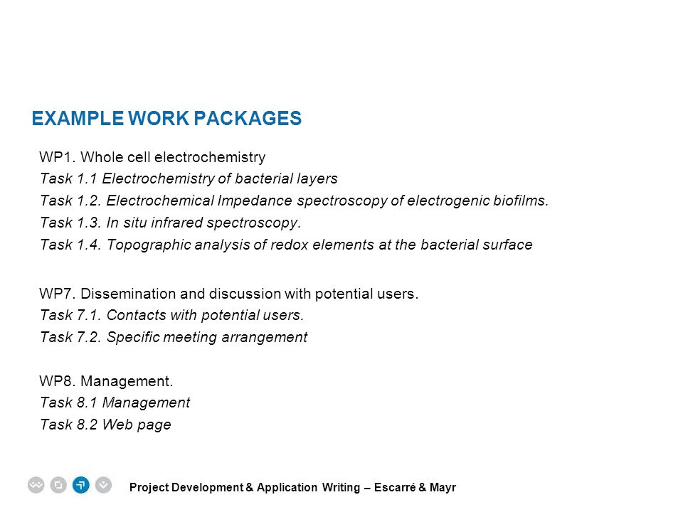 Example Work packages WP1. Whole cell electrochemistry