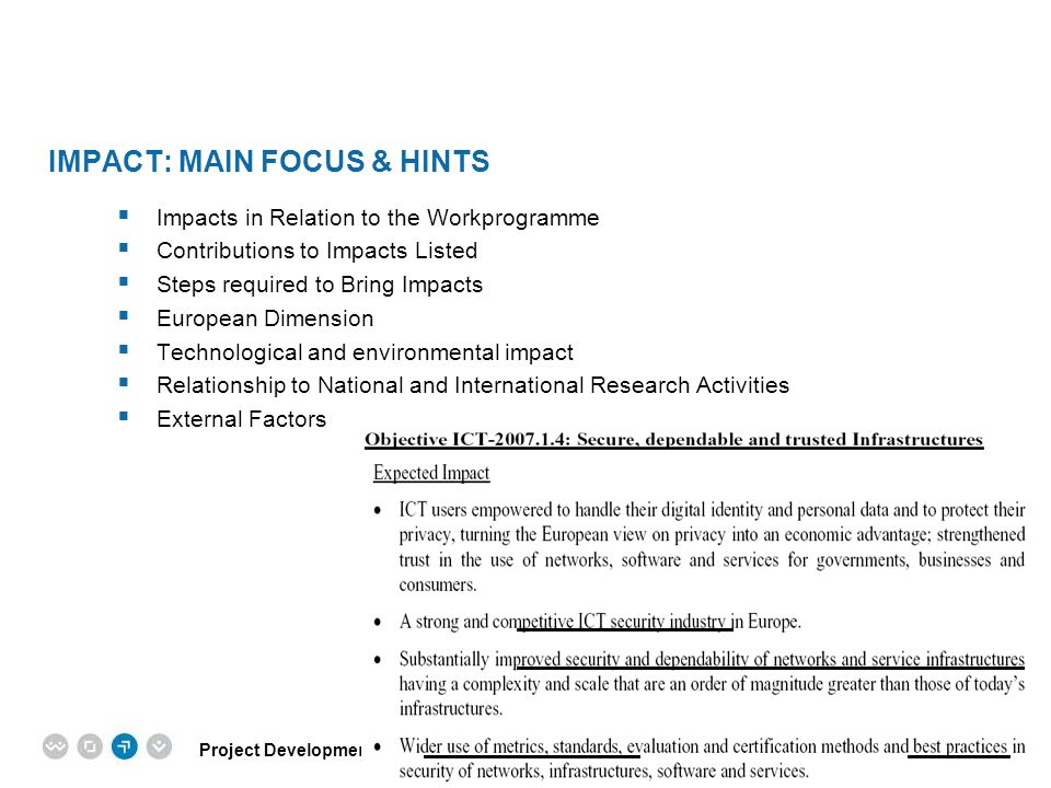 Impact: main focus & hints