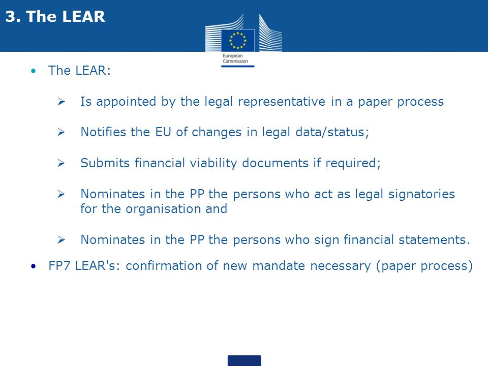 3. The LEAR The LEAR: Is appointed by the legal representative in a paper process. Notifies the EU of changes in legal data/status;