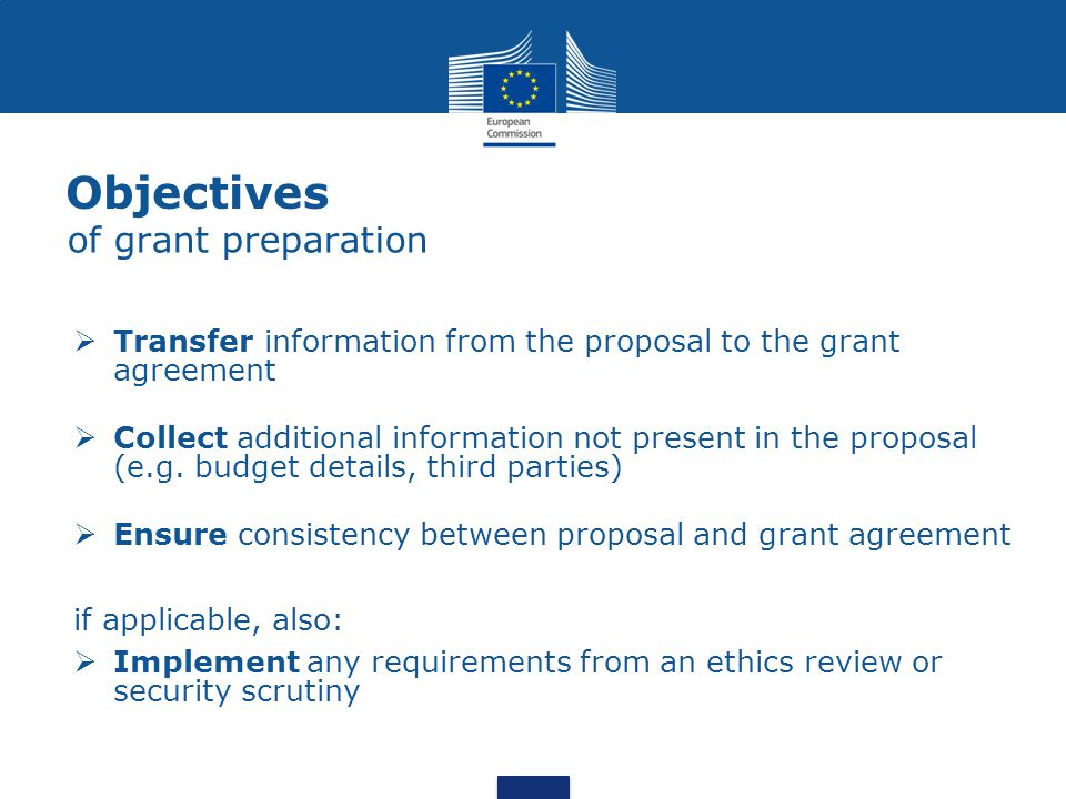 Objectives of grant preparation