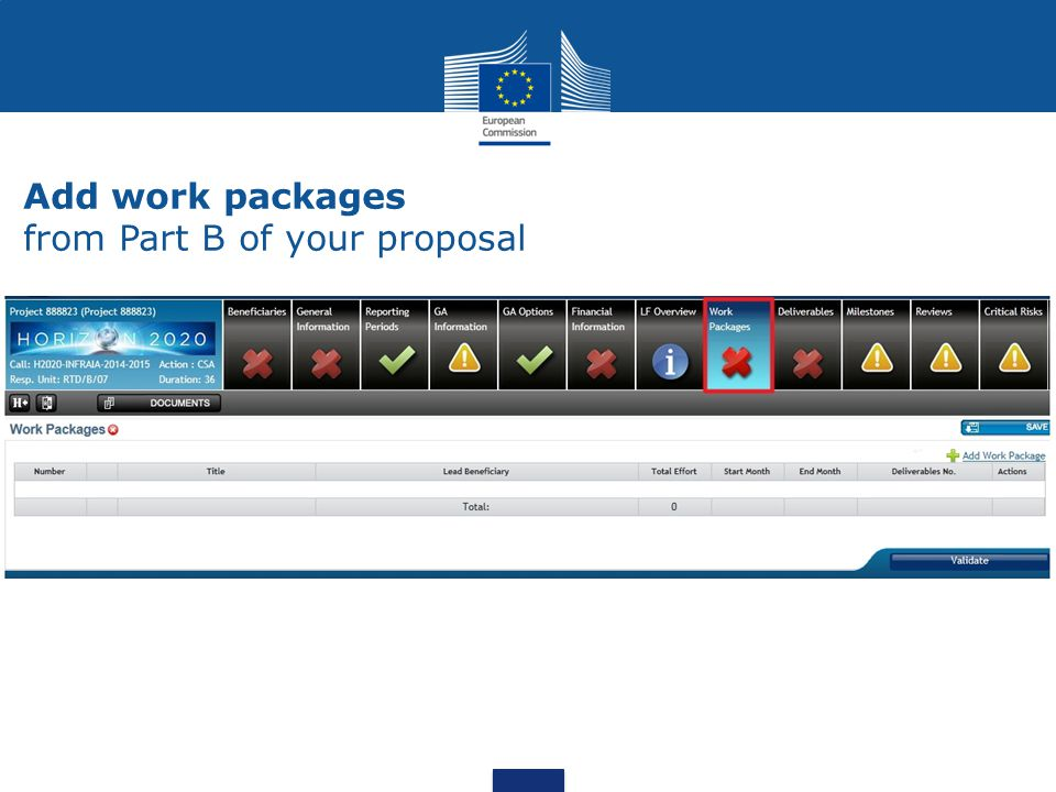 Add work packages from Part B of your proposal