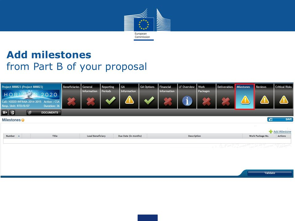 Add milestones from Part B of your proposal