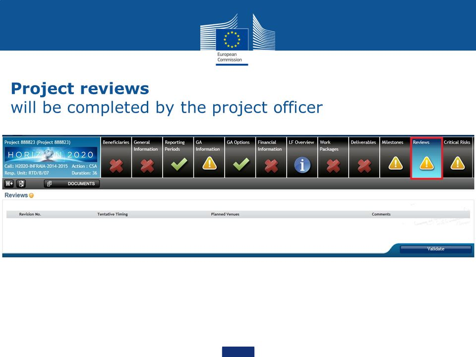 Project reviews will be completed by the project officer