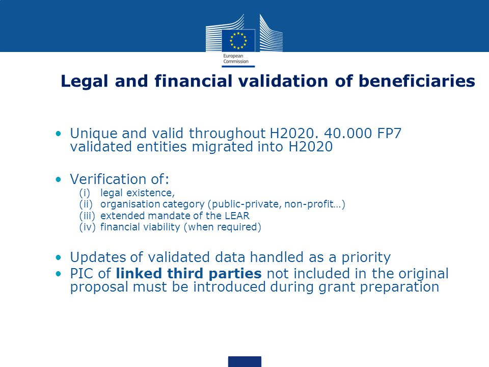 Legal and financial validation of beneficiaries