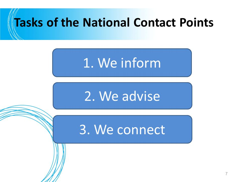Tasks of the National Contact Points