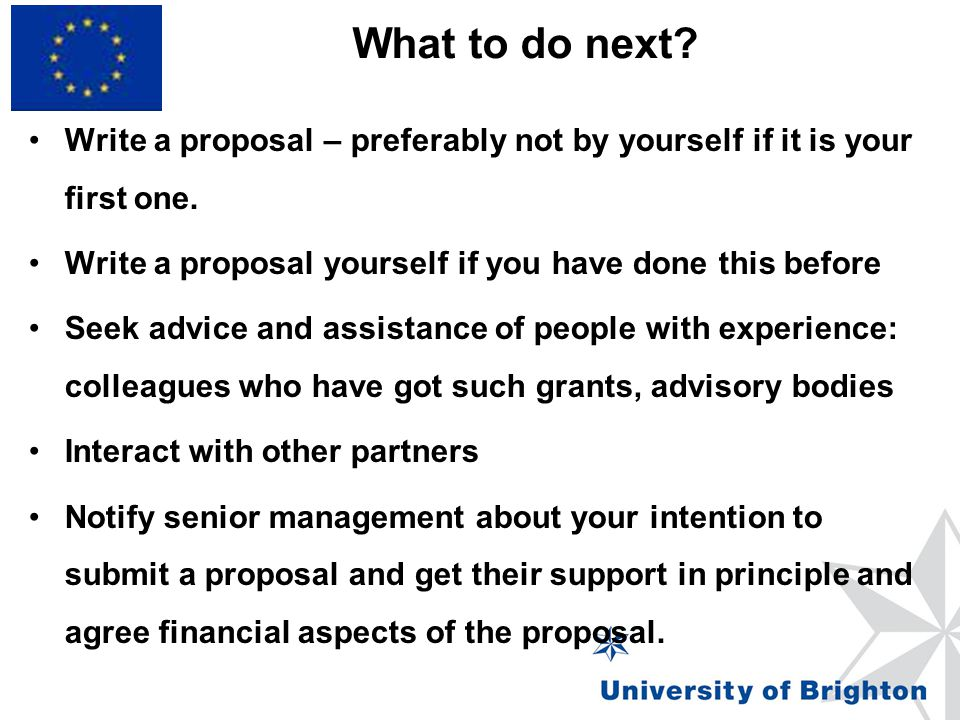 What to do next Write a proposal – preferably not by yourself if it is your first one. Write a proposal yourself if you have done this before.