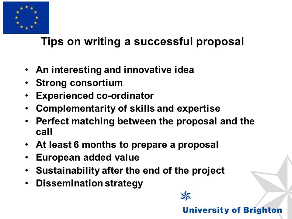 Tips on writing a successful proposal