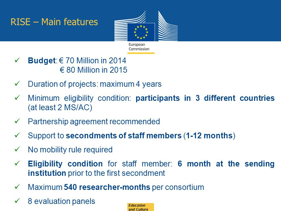 RISE – Main features Budget: € 70 Million in 2014 € 80 Million in 2015
