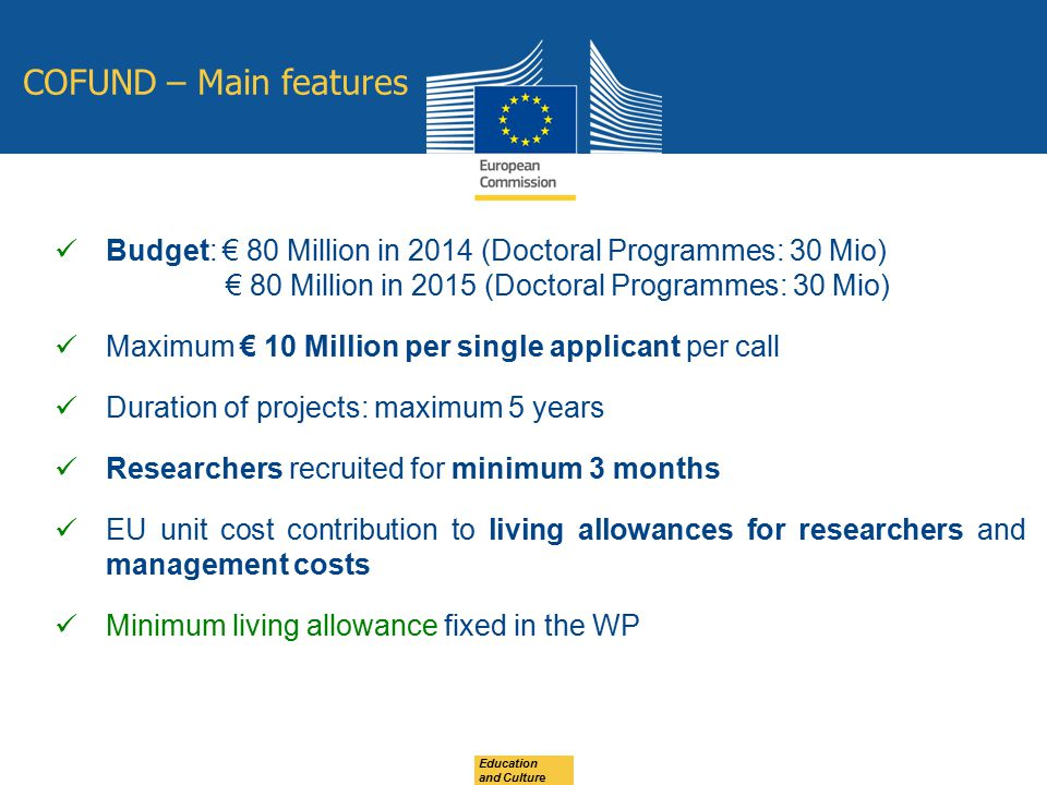 COFUND – Main features Budget: € 80 Million in 2014 (Doctoral Programmes: 30 Mio) € 80 Million in 2015 (Doctoral Programmes: 30 Mio)