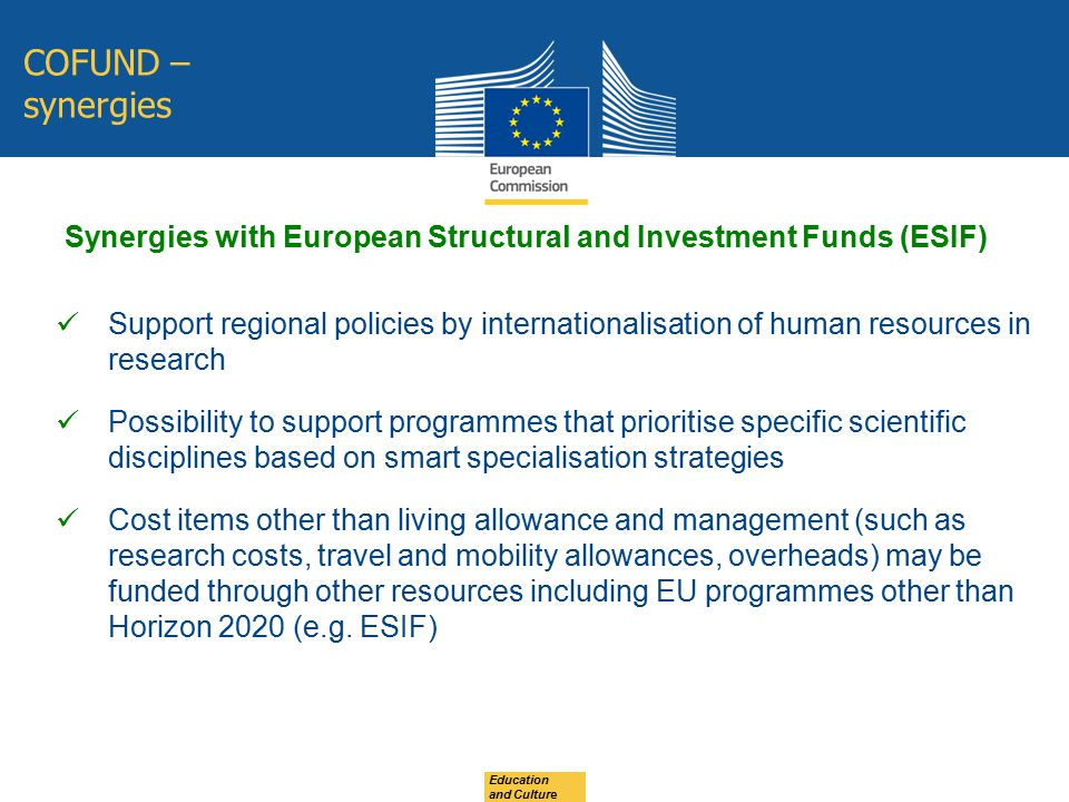 Synergies with European Structural and Investment Funds (ESIF)
